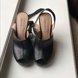 Black Charles David leather wedge sandals sz7.5